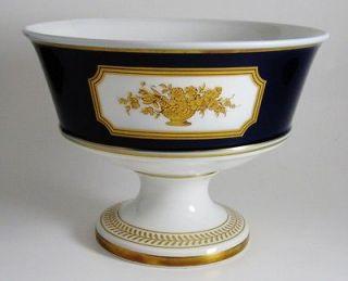 Footed Pedestal Compote Bowl from Heinrich, Germany Echt Kobalt MAINAU
