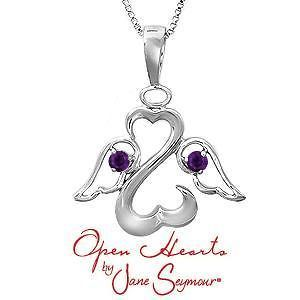 Jane Seymour Open Hearts Sterling Silver BirthStones Necklace Pendant