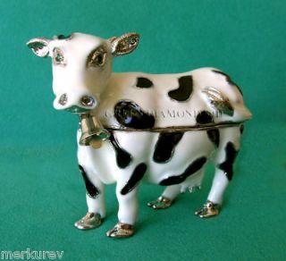 COW FIGURINE BOX DECORATED WITH SWAROVSKI CRYSTALS