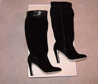 NIB $198 Michael Kors Harness Black Suede Leather Tall Slouch Boots Sz