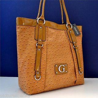Guess Rogue Cognac Brown Ostrich Handbag Tote Satchel Purse Bag
