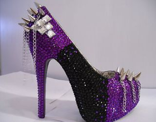 Black/Purple Rhinestone Pumps W/ Spikes and Chains (Lady Gaga)