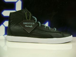 BRAND NEW DIAMOND SUPPLY CO BRILLIANT SHOE BLACK LEATHER SIZE 8.5 11.5