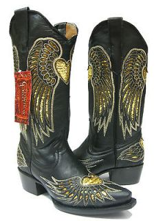 Womens ladies black leather cowboy boots sequins western rodeo biker