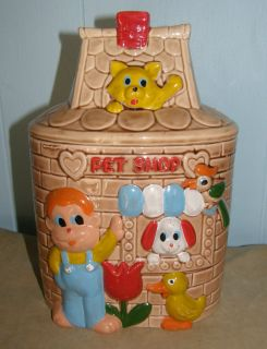 LOVELY VINTAGE COOKIE JAR JAPAN PET SHOP KID LITTLE BOY CAT DOG PARROT