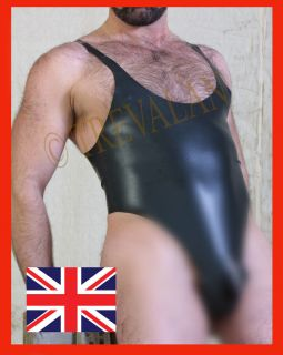 BLACK PREMIER LATEX RUBBER MALE WRESTLING SUIT SIZES S M L XL GUMMI