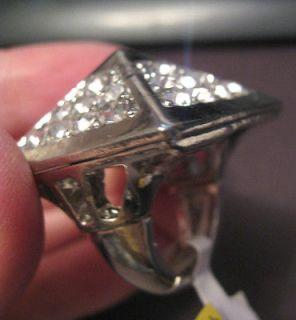 3D BIG Pyramid Silver Plated Crystal Ring size 7 masonic illuminati