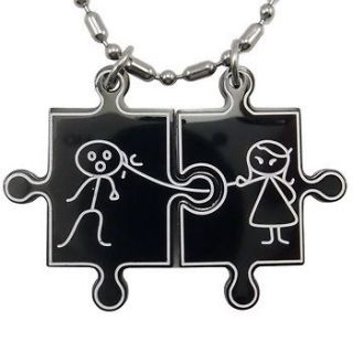 Pair Husband Wife Love Puzzle Jigsaw Stainless Steel Pendants