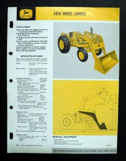 John Deere 1965 1010 Wheel Loader Construction Brochure