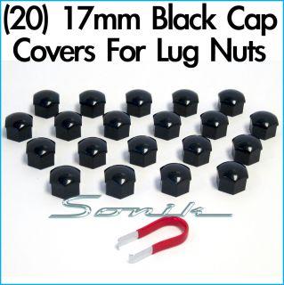 20) Black Cap Covers for Wheel Lug Nut Bolt 17mm Hex