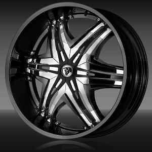 24 Diablo Elite Black Wheels Rim 325/45/24 Tires 8 lug Hummer H2
