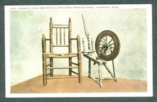 Chair, Priscilla Mullens Spinning Wheel, Plymouth, MA Postcard