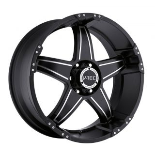 17 inch V tec Wizard black wheels rims 8x6.5 8x165.1 +12 / Dodge Ram
