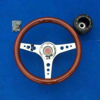 13 Inch Mgb Wooden Steering Wheel Chrome Center h