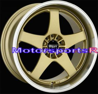 Gold with Machine Lip Staggered Rims Wheels 5x114.3 5x4.75 Offset +35