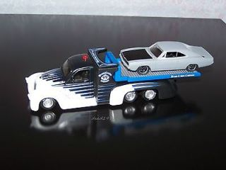 CUSTOM FLATBED TOW TRUCK + 1970 DODGE CHARGER PROJECT CAR MINT