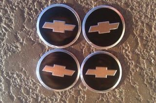 Chevrolet Bowtie Wheel Emblems Black Gold Lowrider Camaro Chips FREE