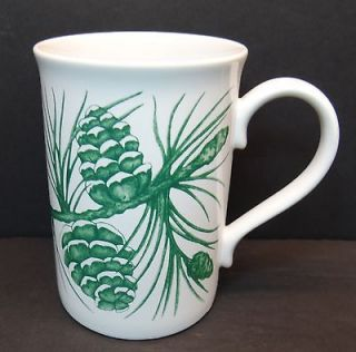 Godiva Chocolatier Green Pine Cones Coffee Mugs White Green