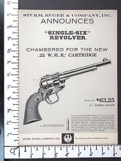 1959 RUGER New 22 WMR Rim Fire Magnum SINGLE SIX Revolver magazine Ad