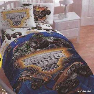 Monster Jam Trucks Boys FULL Bedding Comforter Sheets Drapes Pillow