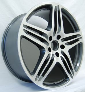 22 Turbo Wheels Rims Porsche Cayenne Audi Q7 VW Toureg Gunmetal New