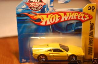 2008 Hot Wheels Ferrari GTO Yellow Short Card