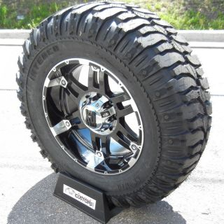 20 BLACK XD SPY RIMS 37 SUPER SWAMPER TIRES CHEVY GMC SIERRA SILVERADO