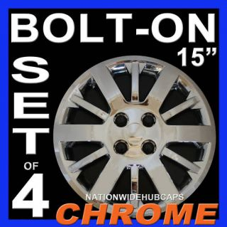 15 Chevy 4 Lug Bolton Chrome Hub Caps Wheel Rim Covers Steel Wheels