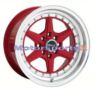 15 15x8 XXR 501 RED Rims Wheels Deep Dish Lip 4x100 Stance 92 02 Honda