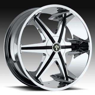 22 x9 5 Dub Big Homie w O RVT Chrome 5 Lug Wheel Rims