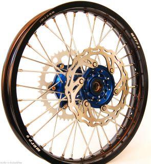 Warp 9 Wheel Set Kawasaki KX KXF 450 19 21 Black Rims Blue Hubs with