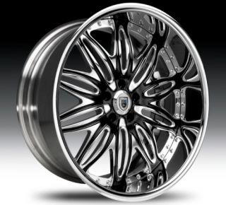 24 asanti AF151 Black Chrome Wheels Rims 2 Piece Tone