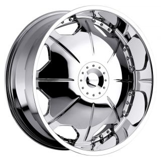 26 inch Strada Mirror Chrome Wheels Rims 6x5 5 Suburban Canyon Censor