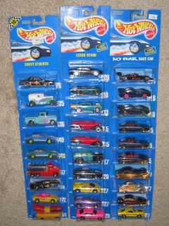 Hot Wheels Blue Cards Lot of 29 Very Cool Assortment