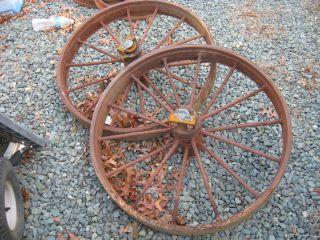 Antique Two Cast Iron 30 Wheels Farm Wagon