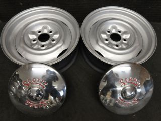 Scotty Serro Wheels and Hub Caps Travel Trailer Camper Rims Hubcaps