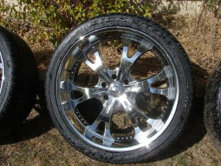 Set of Four Used 6 Bolt 24 inch Rims and Tires Fits Chevy Trucks