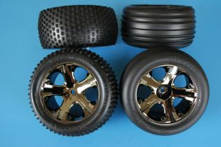 Rustler VXL Front & Rear Tire and Wheel Set 1/10 xl 5 Alias Rims 1/10