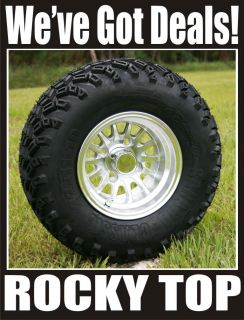 New 10x7 Silver Medusa Golf Cart Wheels and All Terrain Tires