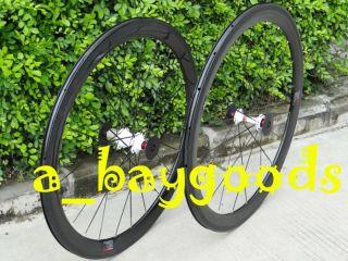 Carbon 700c Road Bike Clincher Wheel Set 38mm Rims Skewers Pads