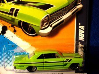 Hot Wheels 2012 66 Chevy Nova Green Cool Graphics Very HTF