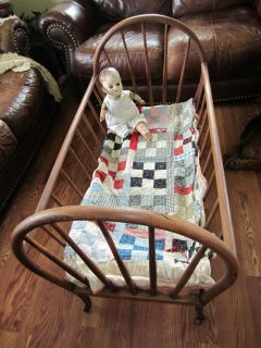 Antique Wood Baby Cradle Bassinet Bed Wooden Wheels Doll Quilt Display