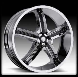 Milanni 459 BEL AIR 5 CHROME W BLK 5X120 JIMMY CAMARO S10 WHEEL RIMS