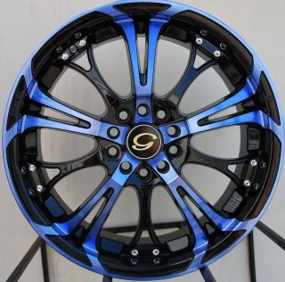 17X7 G LINE G667 WHEEL 4X100/114.3 +40 BLUE BLACK RIM FITS CIVIC