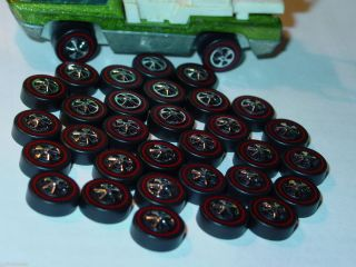 Hot Wheels Redline Red Line Wheel Tire Lot of 48 Medium Cap Style Nice