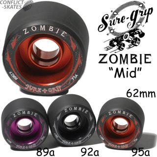 Sure Grip Zombie Mid Wheels Roller Derby Speed Skate Quad 62mm Alloy