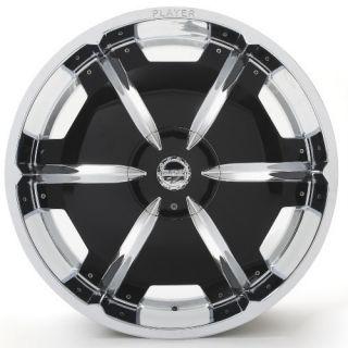Sale 24 Player 815 Chrome Black Inserts Rims Tires Pkg 5x127