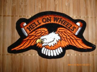 HELL ON WHEELS eagle banner biker patch harley chopper motorcycle
