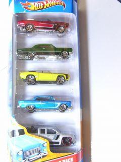 Hot Wheels 5 Pack Chevy 55 Chevy Camaro Impala Silverado Chevelle