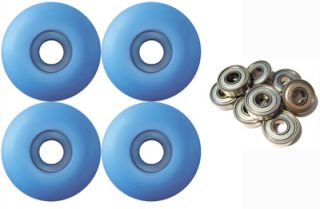 Blank Skateboard Wheels with ABEC 9 Bearings 52mm Light Blue